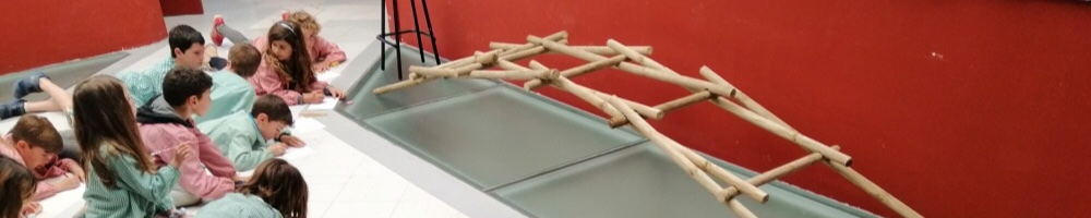 3r de Primària treballa el pont autoportant de Leonardo